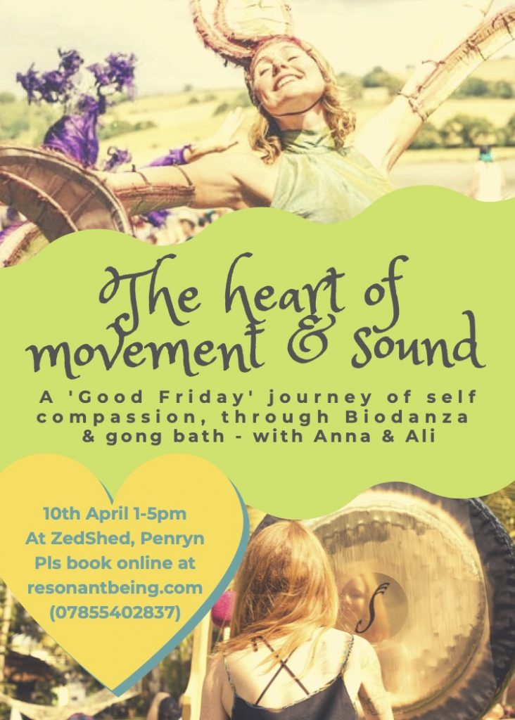 The heart of movement & sound poster April 10th Zedshed Penryn near Falmouth Cornwall